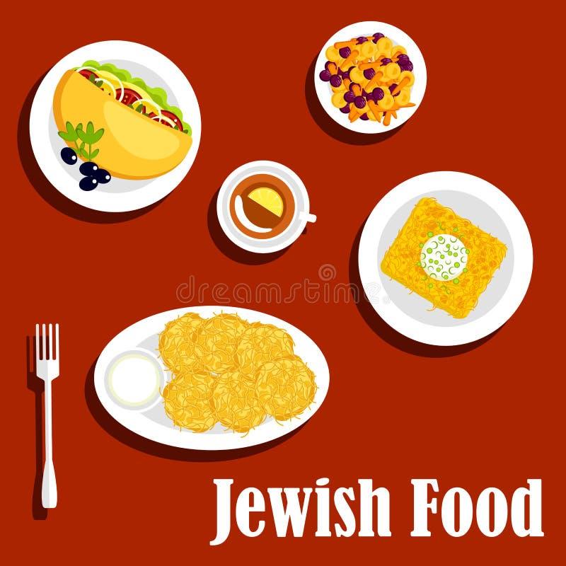 Pratos e pastelaria judaicos de vegetariano da culinária ilustração royalty free