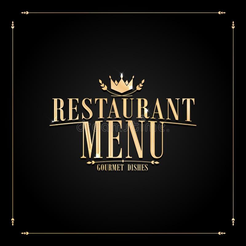 Pratos gourmet do menu barroco preto do restaurante ilustração royalty free