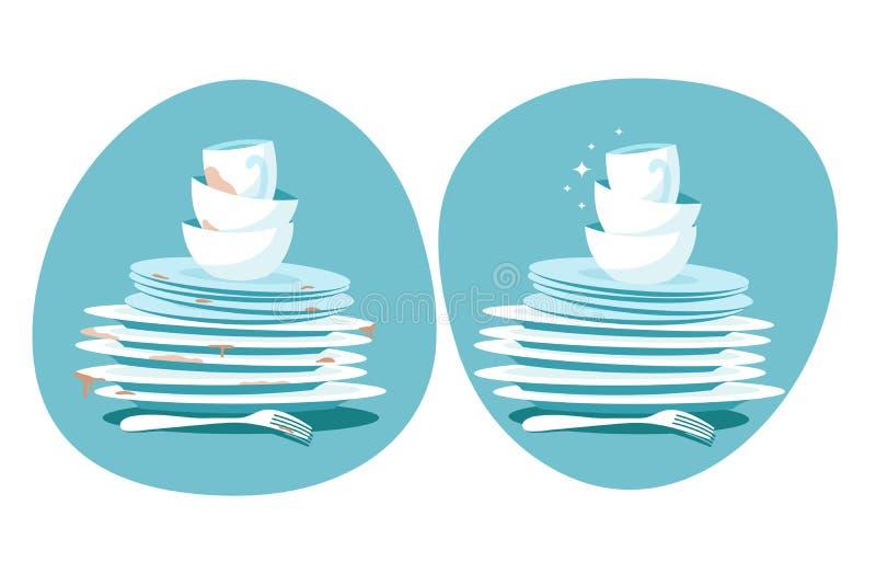 Pratos limpos e sujos Placas da cozinha antes e depois da lavagem Os utensílios da cozinha lavam o conceito do vetor ilustração do vetor