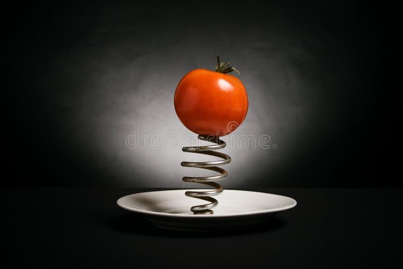 pratos maduros de um tomate e molas de aço fotos de stock royalty free