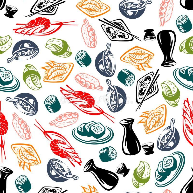 Pratos orientais da culinária e teste padrão sem emenda da causa ilustração royalty free