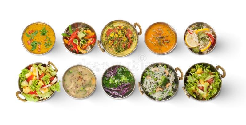 Pratos picantes quentes da culinária indiana do vegetariano e do vegetariano foto de stock