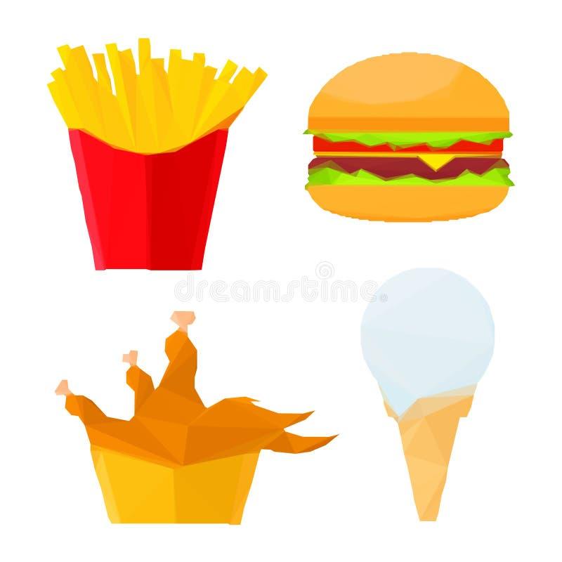 Pratos poligonais do fast food com a sobremesa do gelado ilustração do vetor