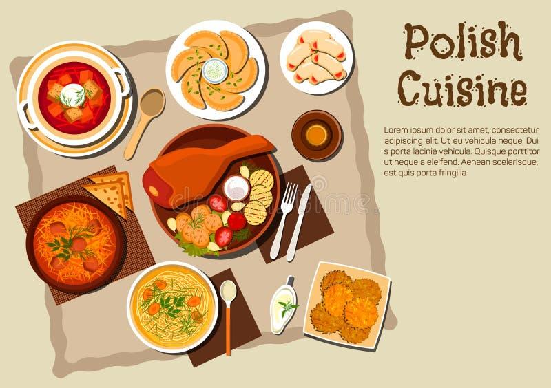 Pratos poloneses tradicionais do menu da culinária ilustração stock