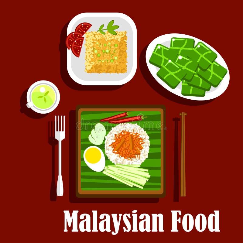 Pratos populares do arroz da culinária malaia ilustração stock