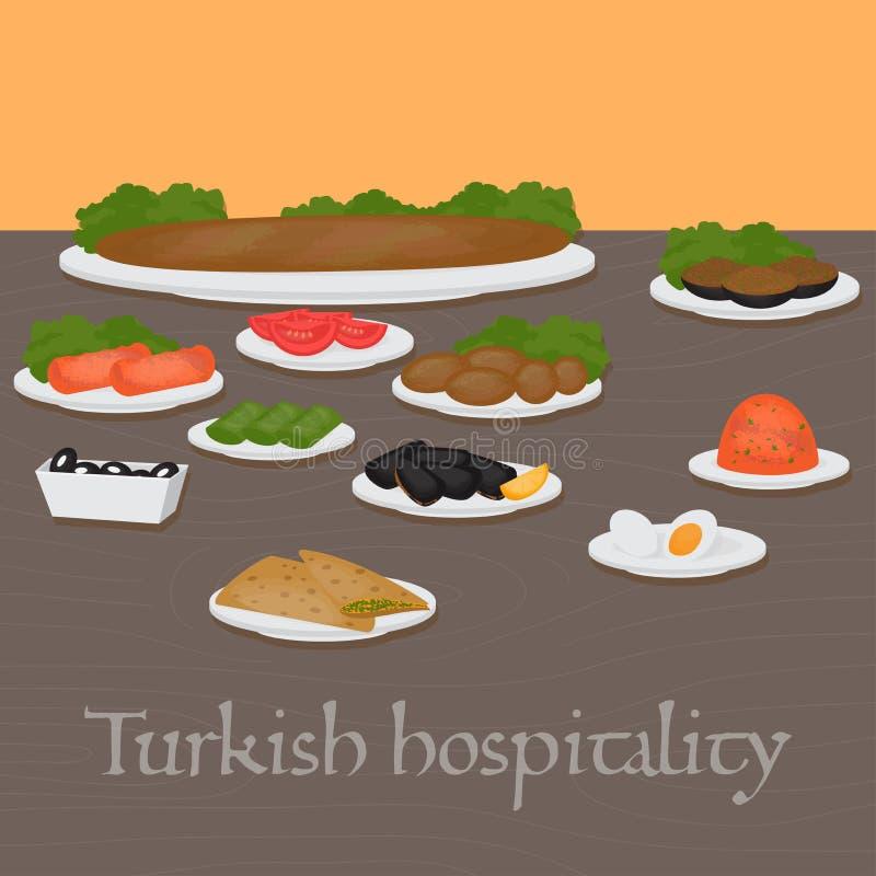 Pratos principais da hospitalidade turca e laterais comuns, sobremesas Alimento tradicional da culinária turca ilustração stock