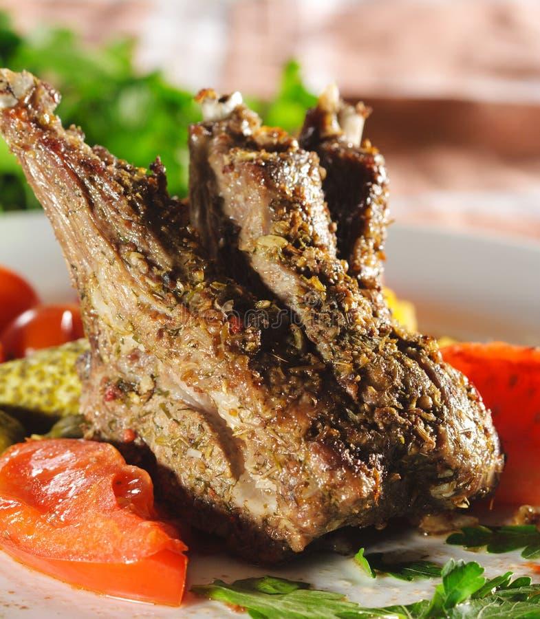 Pratos quentes da carne - cordeiro com ossos fotos de stock royalty free