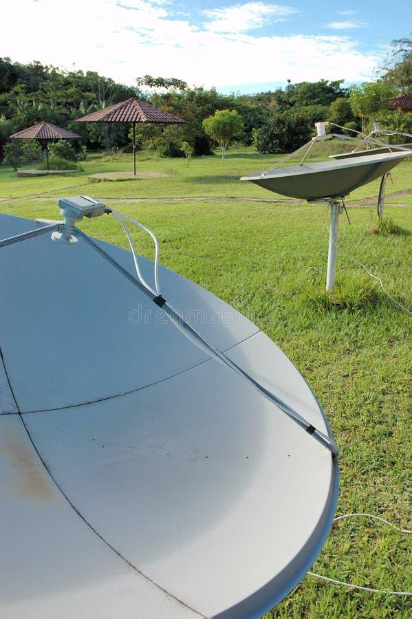 Pratos satélites no Amazon fotos de stock royalty free