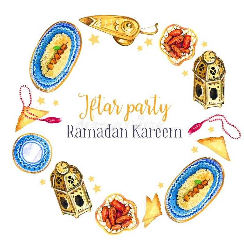 Pratos tradicionais da celebração do partido de Iftar A festa muçulmana da ramadã santamente do mês Illustratio isolado tirado mã ilustração royalty free