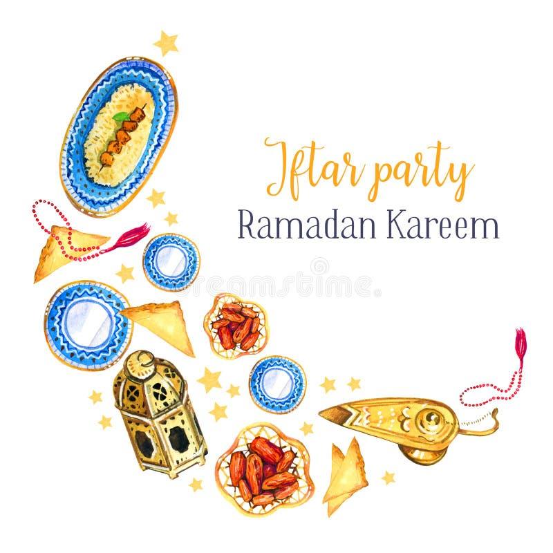 Pratos tradicionais da celebração do partido de Iftar A festa muçulmana da ramadã santamente do mês Illustratio isolado tirado mã ilustração stock