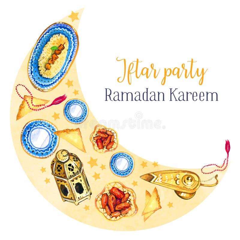 Pratos tradicionais da celebração do partido de Iftar A festa muçulmana da ramadã santamente do mês Illustratio isolado tirado mã ilustração do vetor
