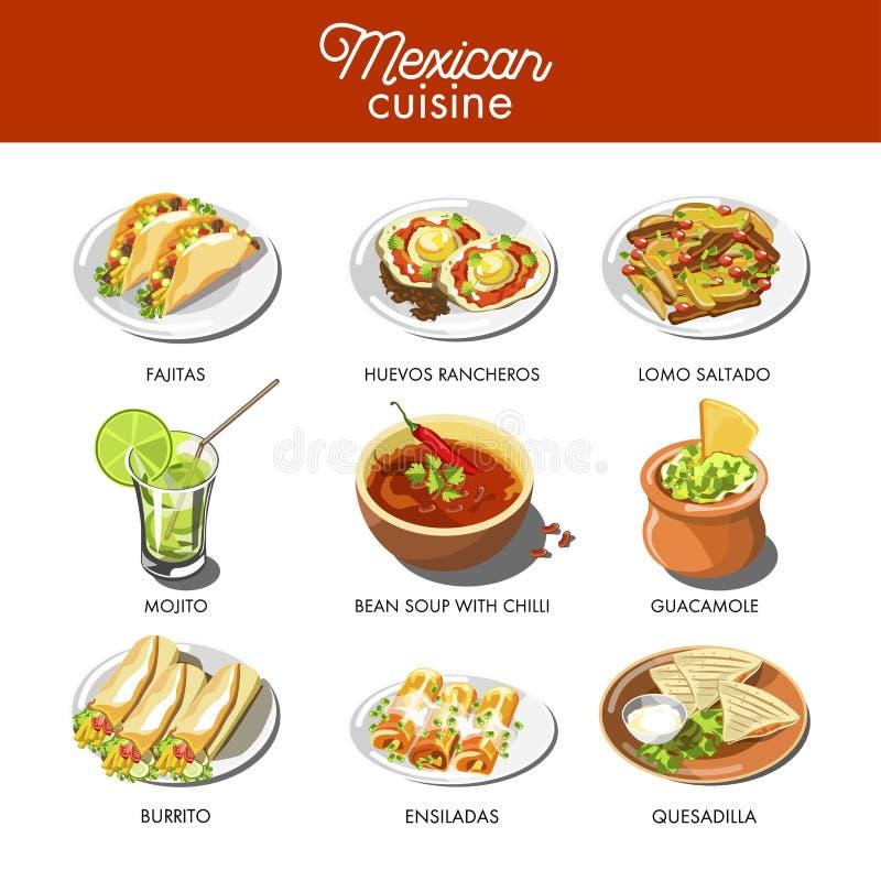 Pratos tradicionais da culinária mexicana do alimento de pratos da refeição ilustração do vetor
