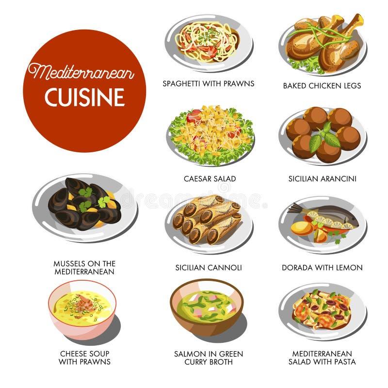 Pratos tradicionais do alimento mediterrâneo da culinária ilustração stock
