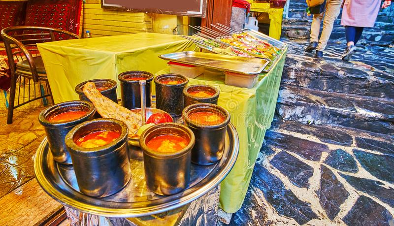 Pratos tradicionais iranianos, Darband, Teerã imagens de stock royalty free