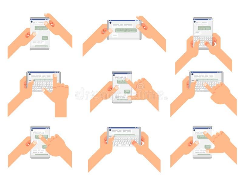 Pratstund accepterar läsningtyp överför gestmeddelandet det sociala budbärarefönstret som pratar messaging den vertikala horisont vektor illustrationer