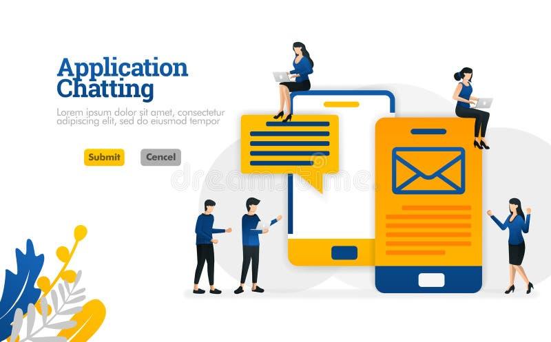 Pratstund- och konversationapplikationer för överföring av SMS och av begrepp för illustration för vektor för mejlmeddelanden kan vektor illustrationer
