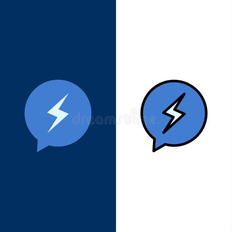 Pratstund Sms som pratar, maktsymboler Lägenheten och linjen fylld symbol ställde in blå bakgrund för vektorn stock illustrationer