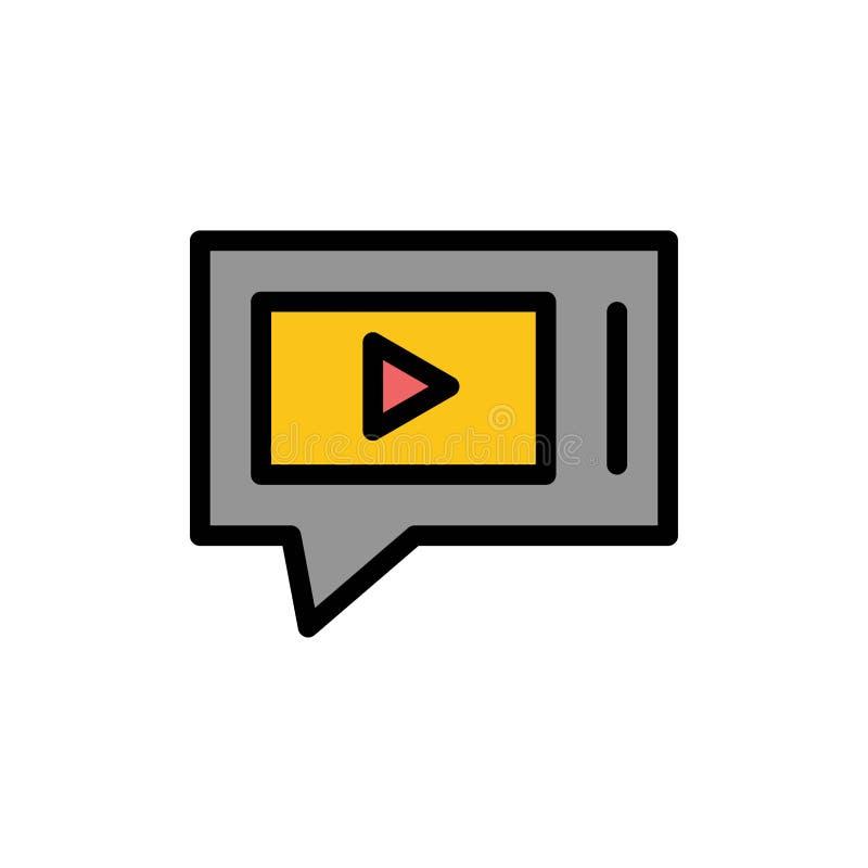 Pratstund som är levande, video, symbol för färg för servicelägenhet Mall för vektorsymbolsbaner royaltyfri illustrationer