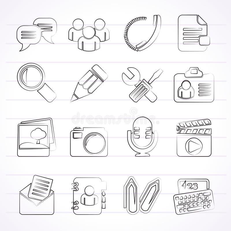 Pratstundapplikation- och kommunikationssymboler royaltyfri illustrationer