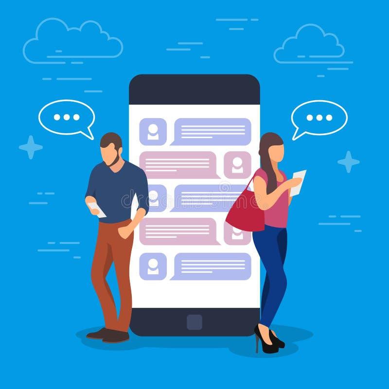 Pratstundbegreppsillustration Ungdomarsom använder mobila grejer liksom minnestavlaPC och smartphoneanseende på en stor telefon stock illustrationer