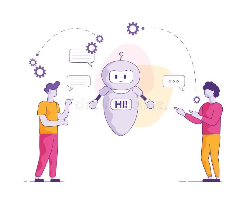 PratstundBot säger Hi konstgjord intelligens för vektorn royaltyfri illustrationer