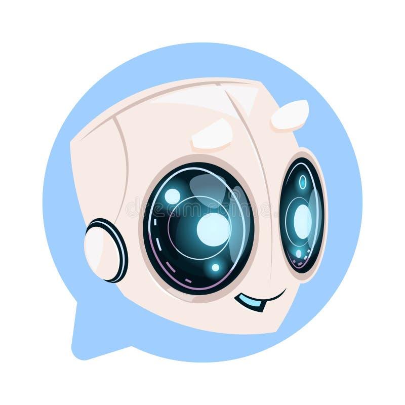 PratstundBot som är gullig i begrepp för anförandebubblasymbol av Chatbot eller Chatterbot teknologi stock illustrationer