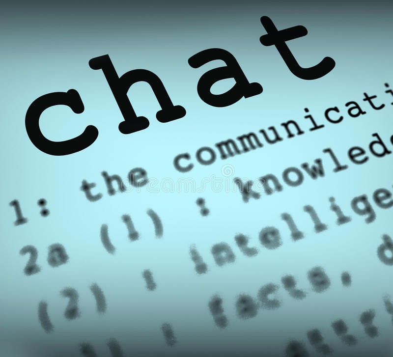 Pratstunddefinitionen betyder online-kommunikation eller stock illustrationer