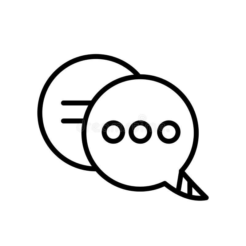 Pratstundsymbolsvektorn som isoleras på vit bakgrund, pratar tecknet, linjen eller det linjära tecknet, beståndsdeldesign i övers vektor illustrationer