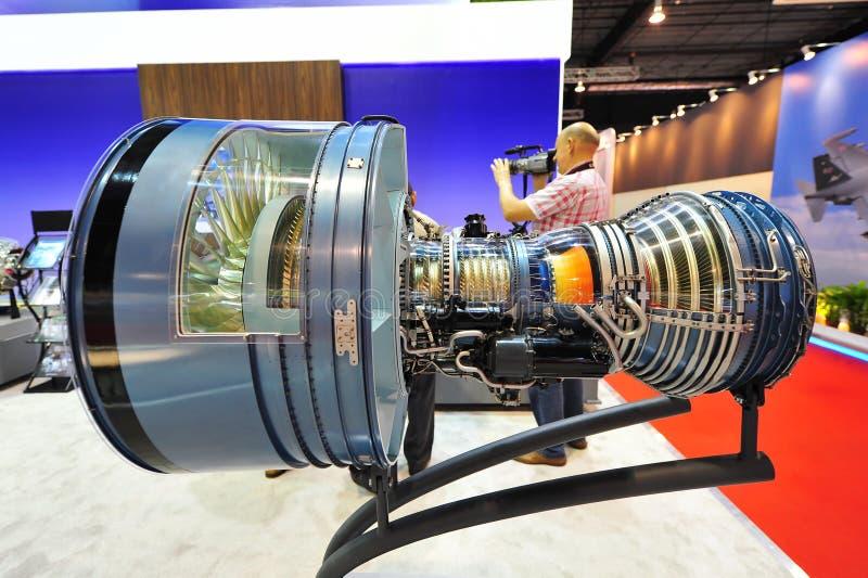 Pratt y Whitney que exhiben su alto motor de la fan de turbo de puente PW4000 en Singapur Airshow fotografía de archivo libre de regalías