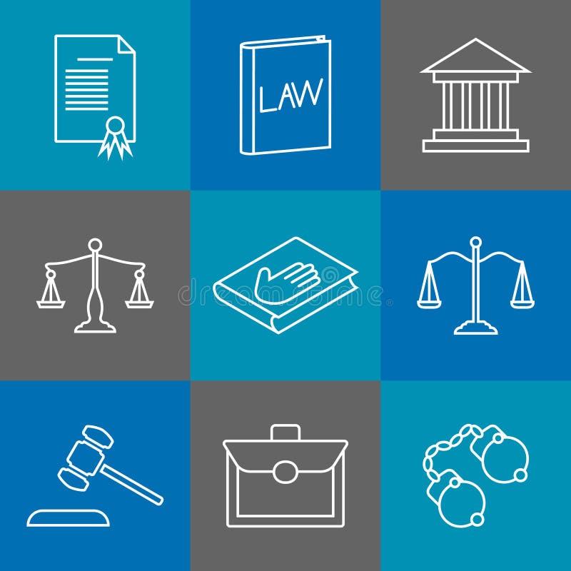 Prawa i sprawiedliwości cienkie kreskowe ikony Jurydyczni legalni liniowi znaki ilustracja wektor