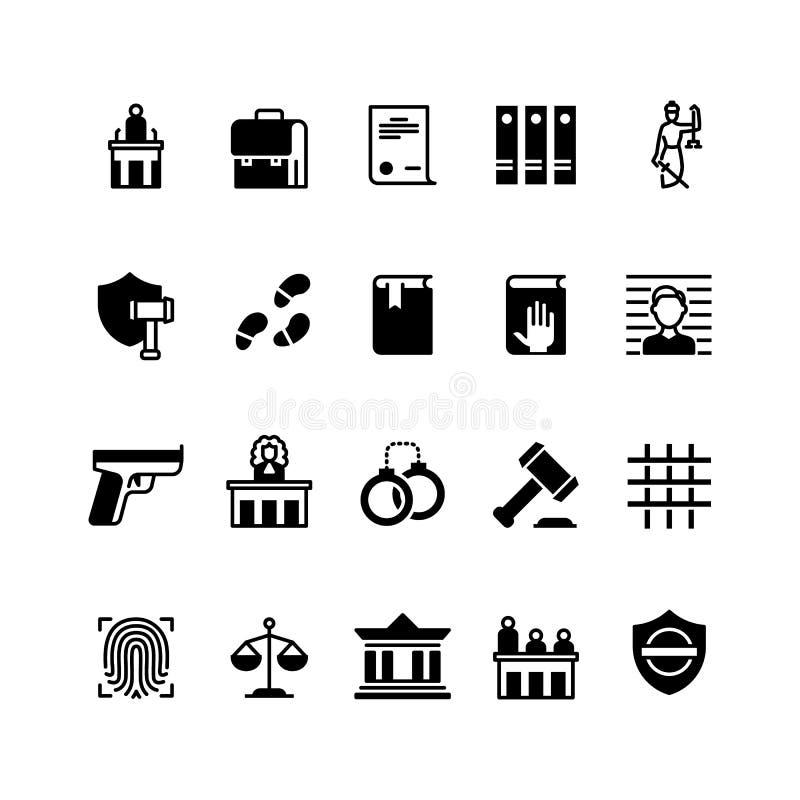 Prawa i sprawiedliwości ikony Ustawodawstwo, sąd, sędzia i prawnik, Kryminalnej polici wektorowej sylwetki odosobneni symbole royalty ilustracja