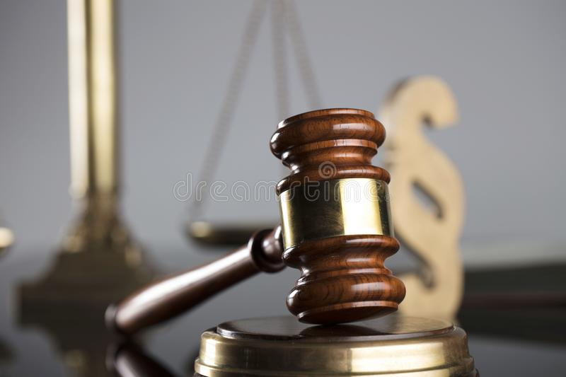 Prawa i sprawiedliwości pojęcie Miejsce dla teksta i typografii obraz stock