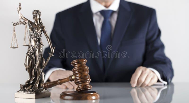 Prawa i sprawiedliwości temat Radca prawny biuro Miejsce dla typografii obraz royalty free