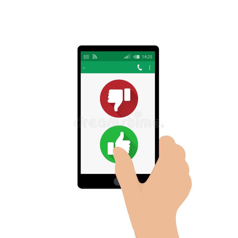 Prawa ręka mienie telefon komórkowy i naciskowy tak guzik również zwrócić corel ilustracji wektora App okno Zieleni i czerwoni kc royalty ilustracja