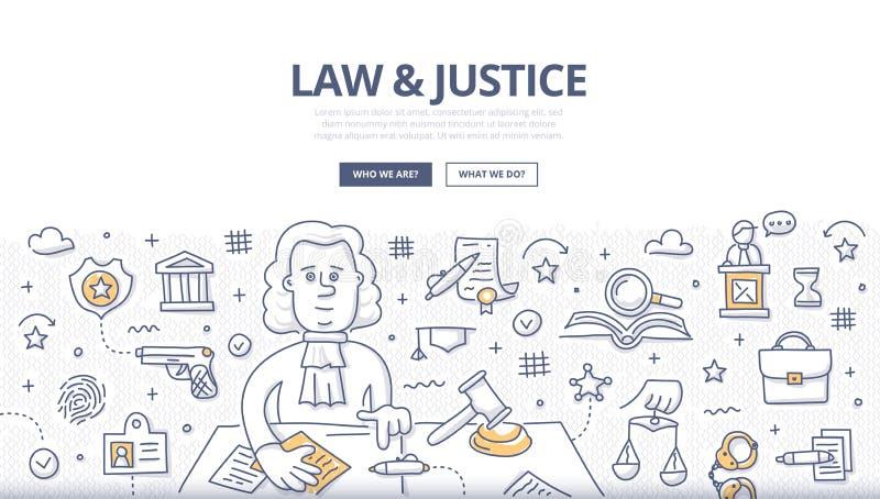 Prawa & sprawiedliwości Doodle pojęcie ilustracji