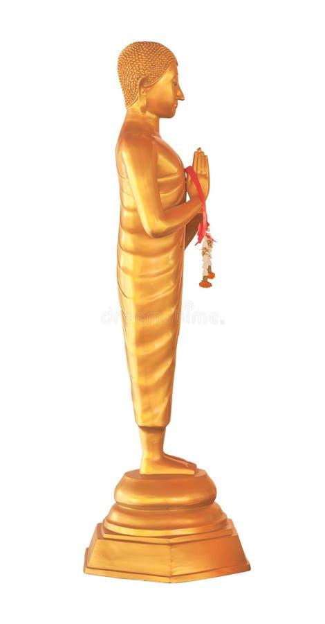 Prawa strona złota Buddha statua z girlandą zdjęcie royalty free