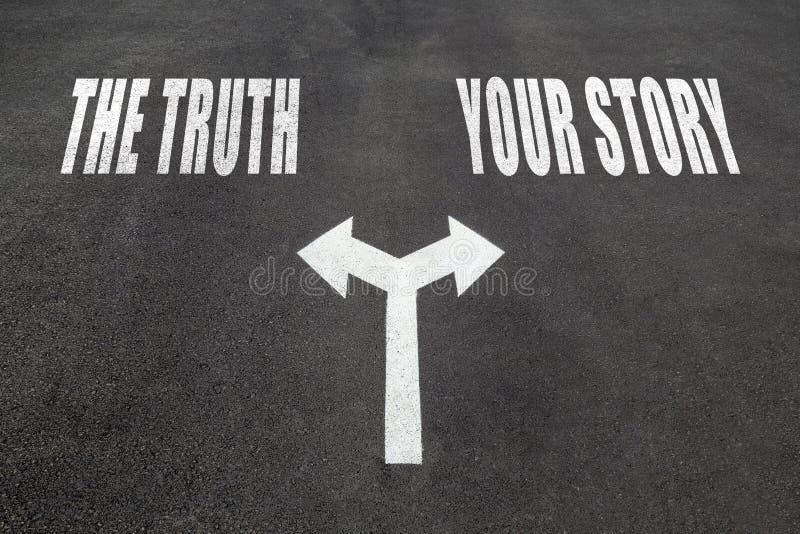 Prawda vs twój opowieść wyboru pojęcie obrazy royalty free