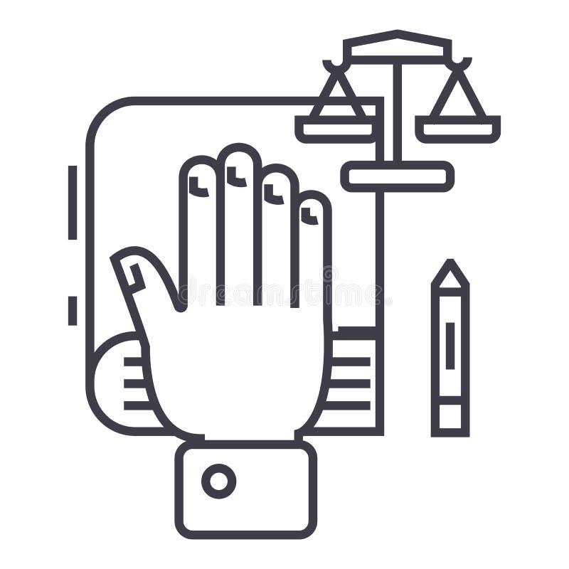 Prawdy pojęcie, ręka na książce małej, bibile, waży wektor kreskową ikonę, znak, ilustracja na tle, editable uderzenia ilustracja wektor