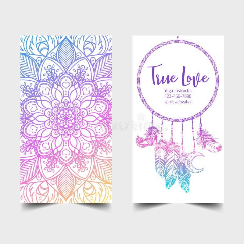 prawdziwa miłość Joga pracowniany karciany projekt Kolorowy szablon dla ducha ilustracji