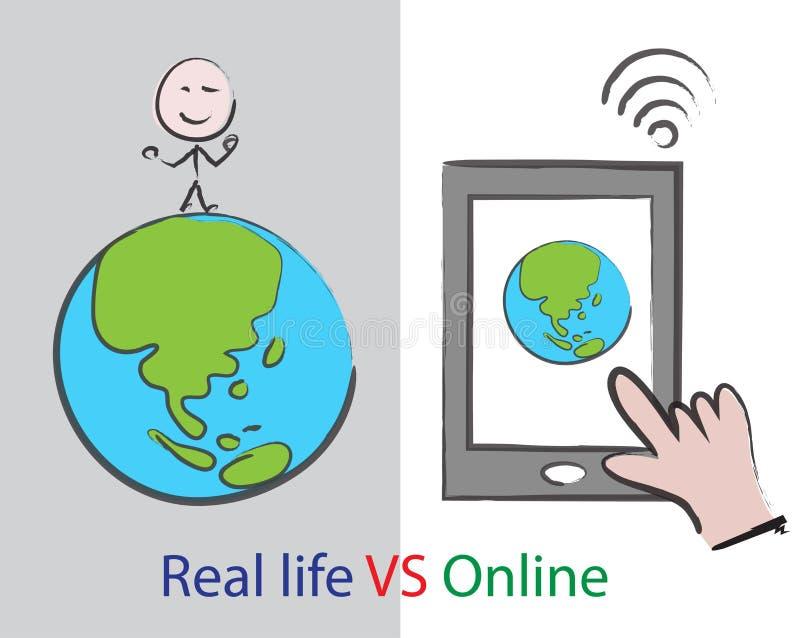 Prawdziwe życie VS online ilustracji