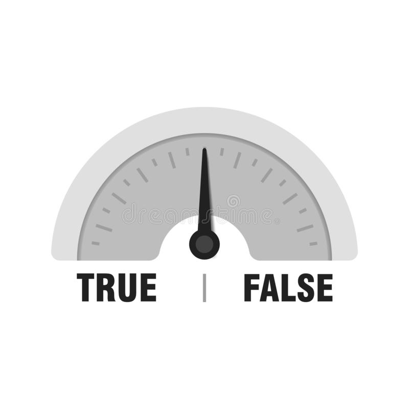 Prawdziwy Fałszywy pomiarowy wymiernik Wektorowa wskaźnik ilustracja Metr z czarną strzałą w bielu royalty ilustracja