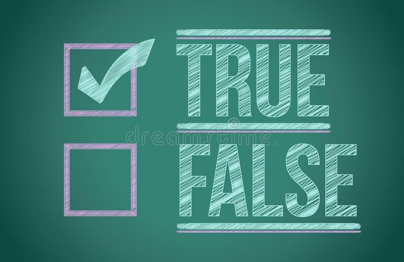 Prawdziwy i fałszywy czeka pudełko ilustracja wektor