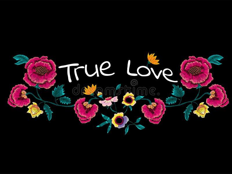 Prawdziwy miłość slogan z broderią kwitnie dla t druku i koszula projekta royalty ilustracja