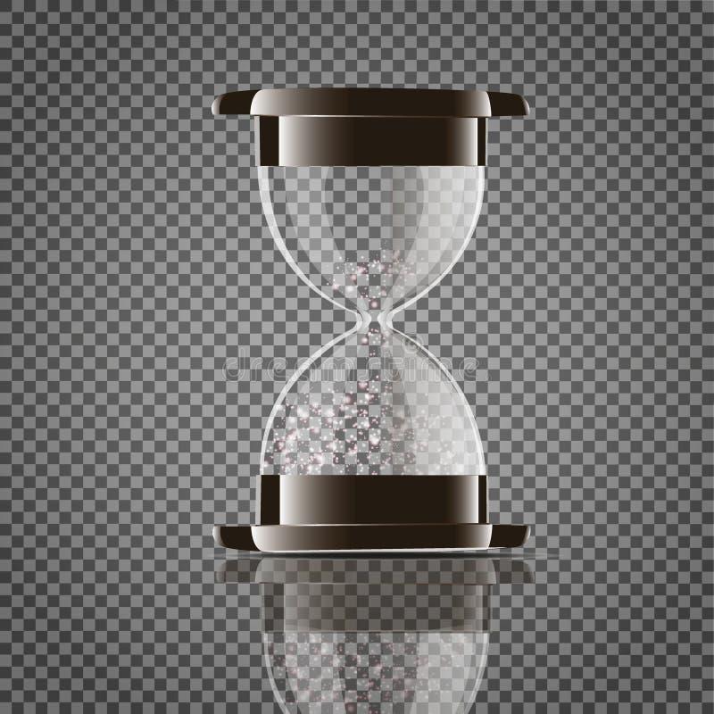 Prawdziwy przejrzysty piaska hourglass odizolowywający na białym tle Prosty i elegancki szkło zegar Piasek zegarowa ikona 3d royalty ilustracja