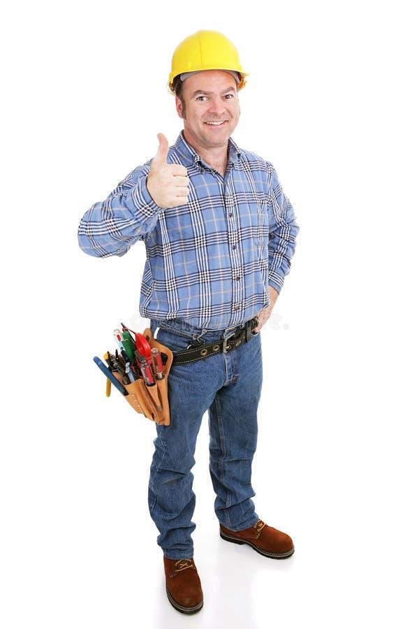 prawdziwy thumbsup pracowników budownictwa zdjęcie royalty free
