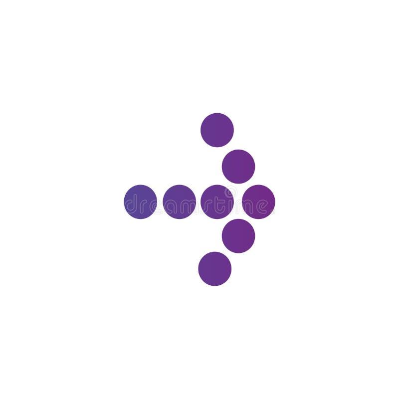 Prawego purpurowego gradientu kropkowana strzałkowata ikona Kontynuuje ikonę Następny znak Wschodnia strzała Wektorowa ilustracja royalty ilustracja
