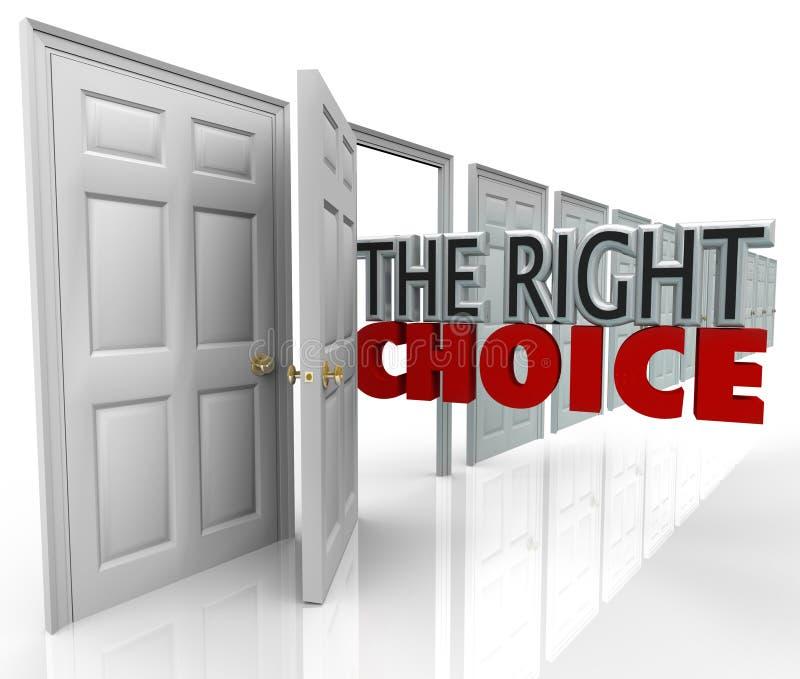 Prawego Wyborowego otwarte drzwi Nowa sposobność Wybiera ścieżkę ilustracja wektor