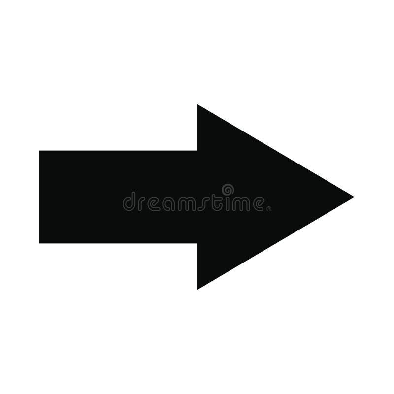 Prawej strzała czerni prosta ikona ilustracji