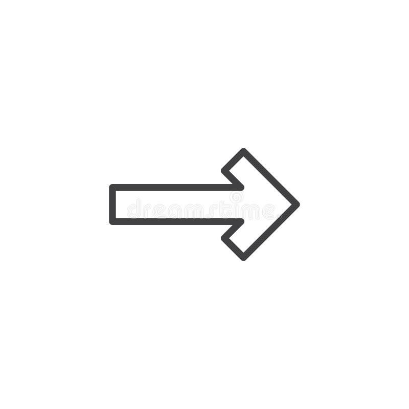 Prawej strzała linii ikona ilustracji