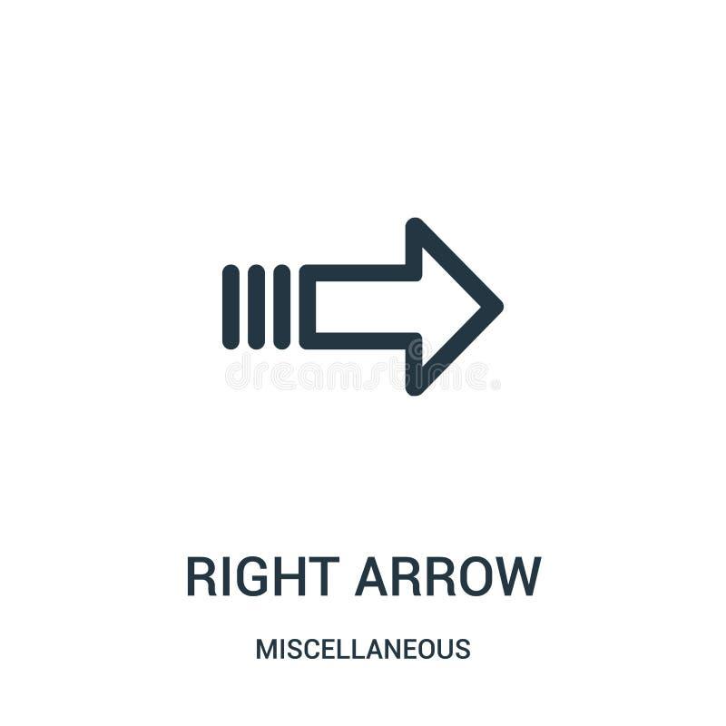 prawej strzały ikony wektor od różnej kolekcji Cienka kreskowa prawej strzały konturu ikony wektoru ilustracja Liniowy symbol dla ilustracja wektor